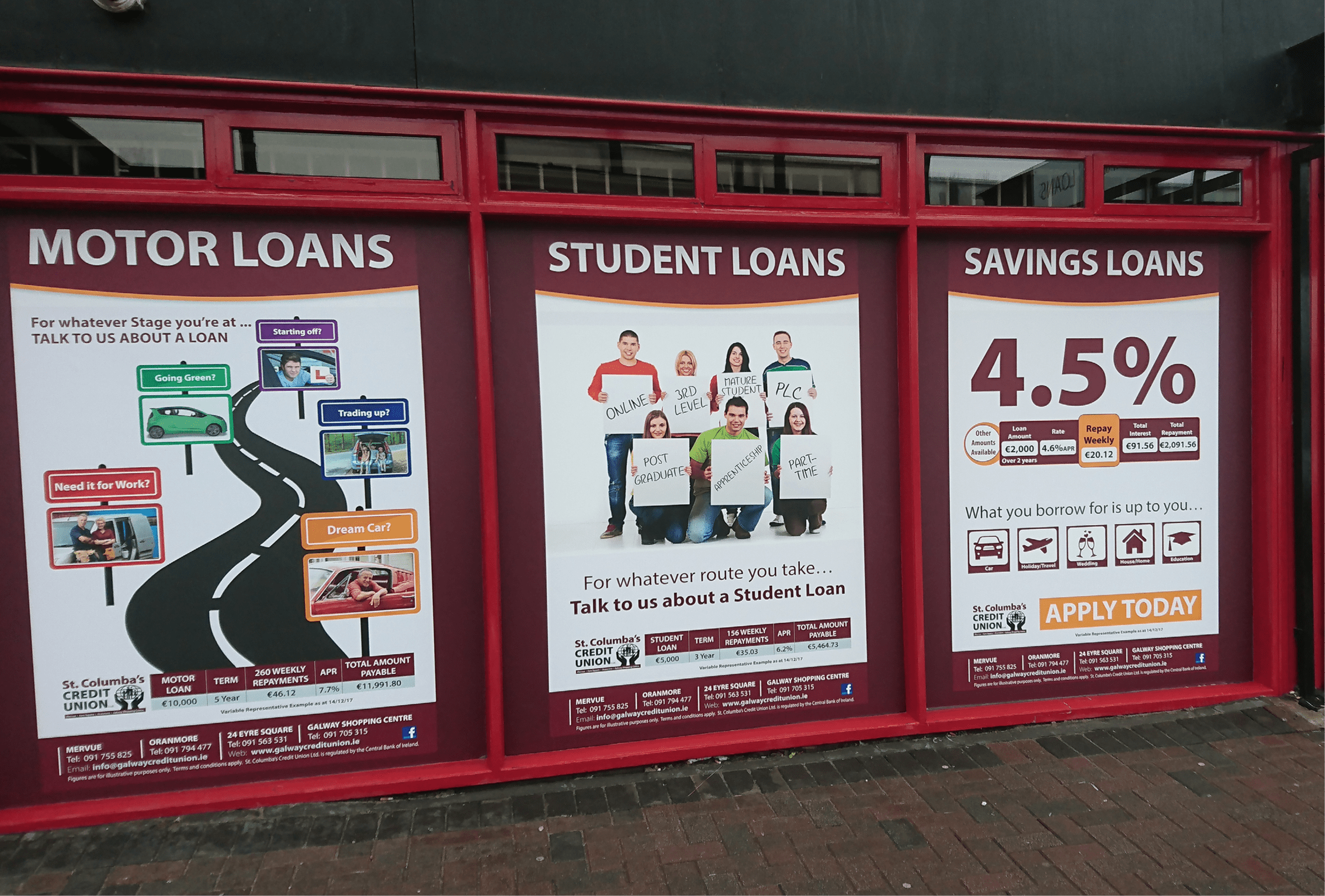 St Columbus Credit Union Window Graphics